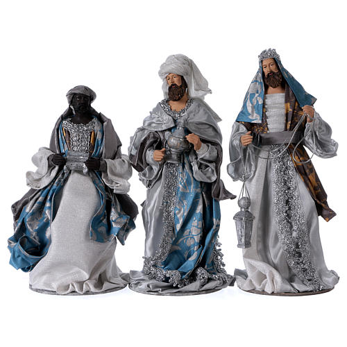 Three Wise Kings in resin Shabby Chic style with blue and silver color clothes 32 cm 1