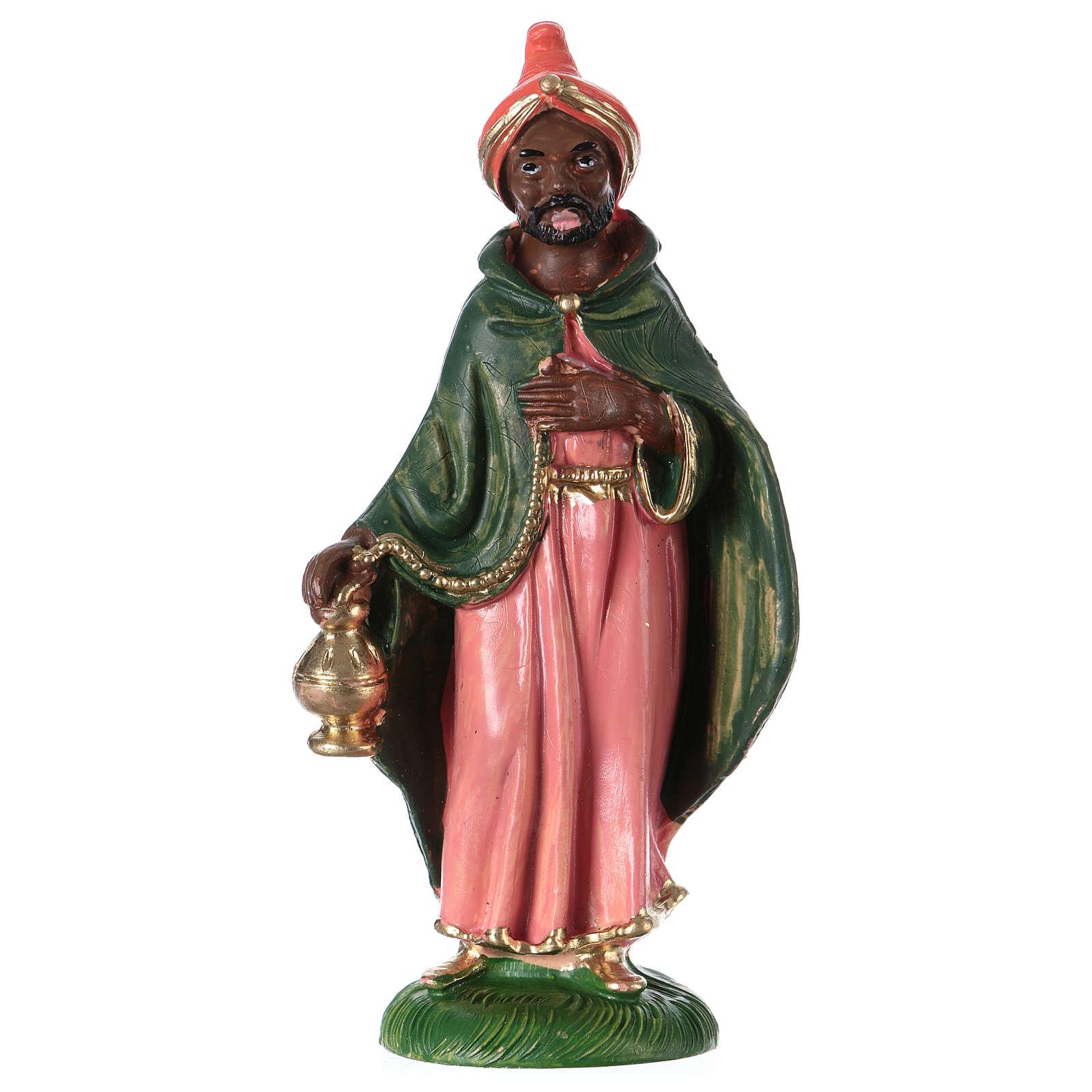 Estatua Rey Mago Baltasar 10 cm de altura media pvc 3