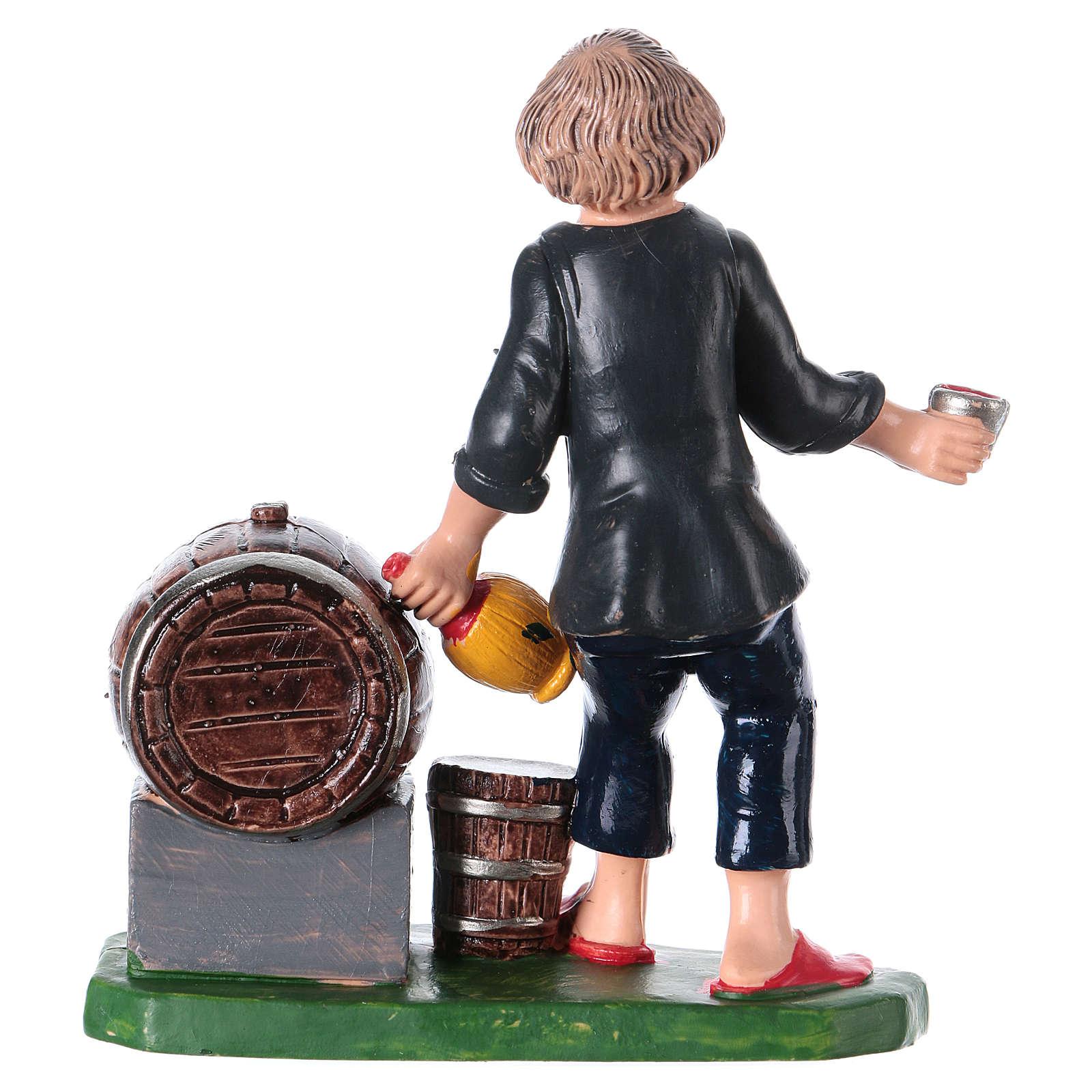 Statuina oste con bottiglia bicchiere e botte 10 cm pvc 3
