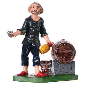 Statuina oste con bottiglia bicchiere e botte 10 cm pvc s1