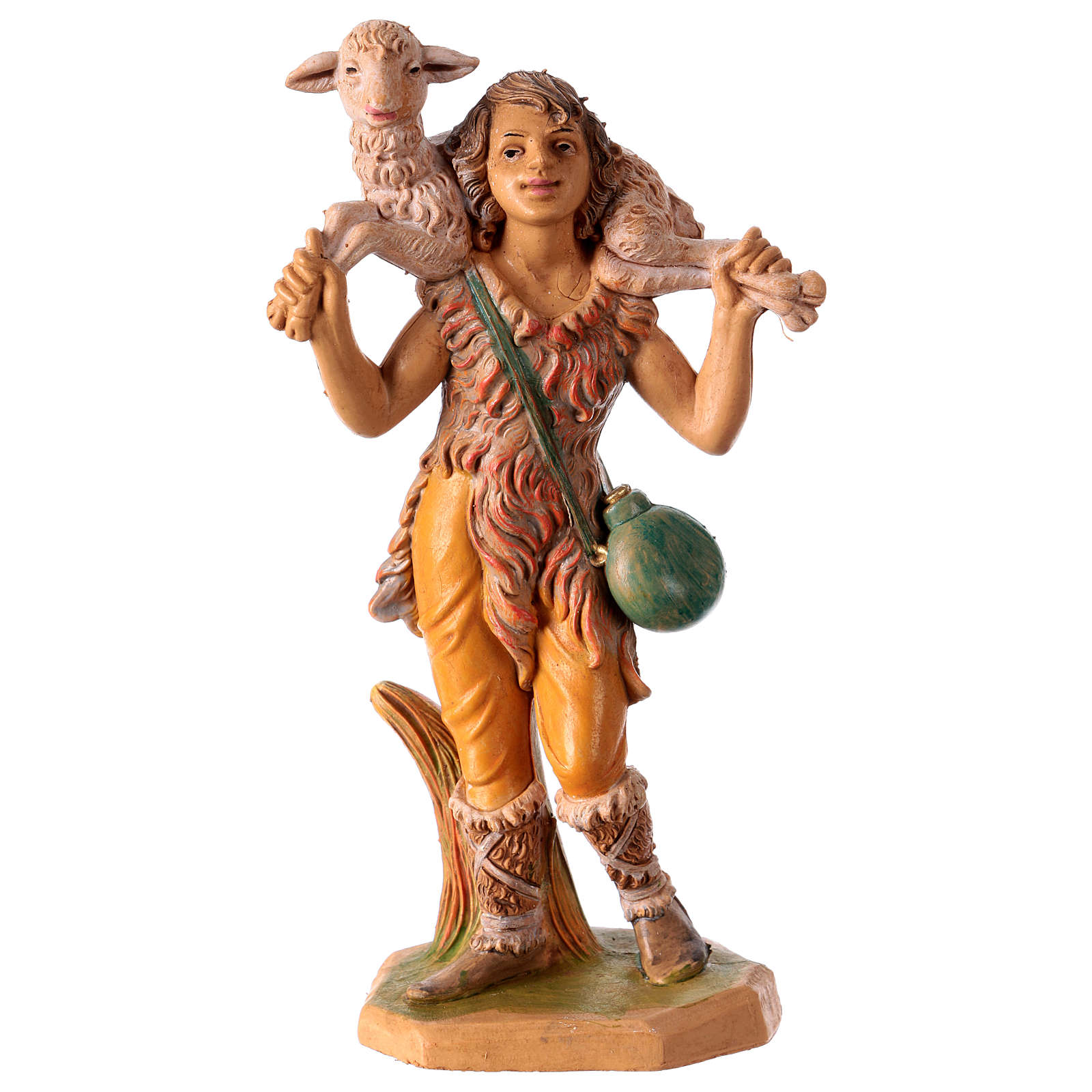 Estatua Hombre con oveja sobre las espaldas 16 cm de altura media para belén 3