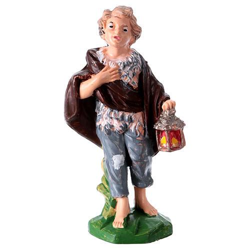 Statua ragazzo con lanterna 10 cm per presepe 1