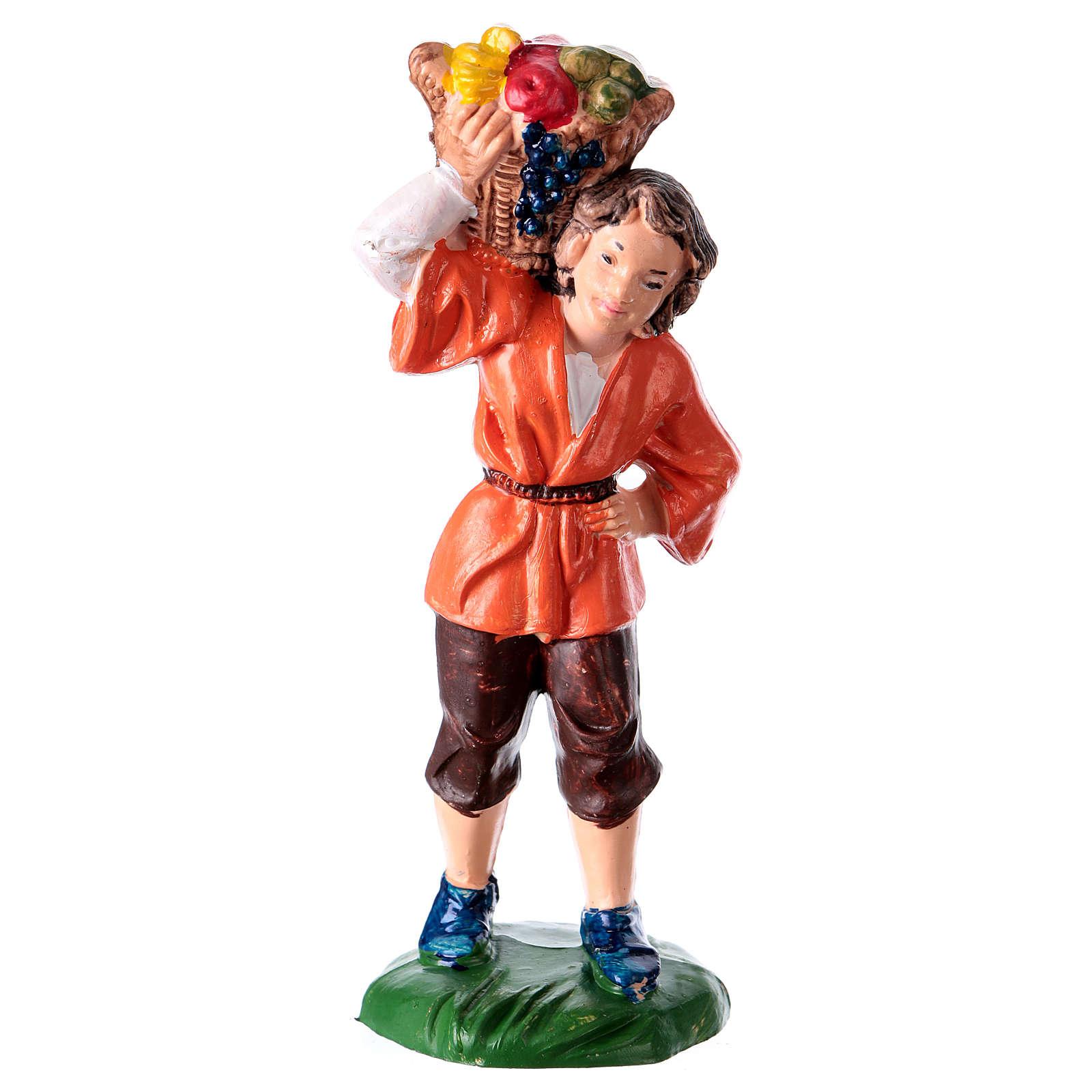 Estatua Hombre con cesta 10 cm de altura media para belén 3
