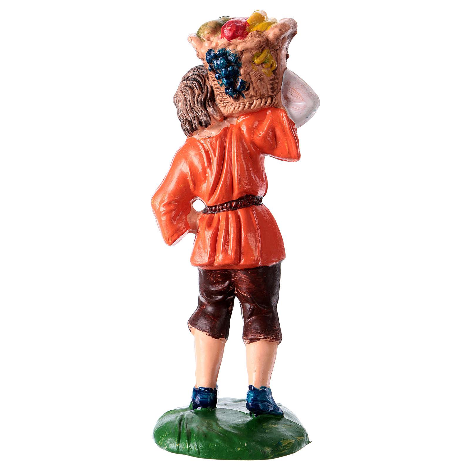 Peça homem com cesta para presépio com figuras altura média 10 cm 3