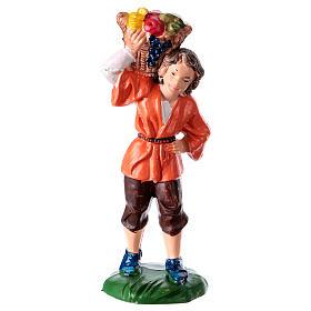 Peça homem com cesta para presépio com figuras altura média 10 cm s1