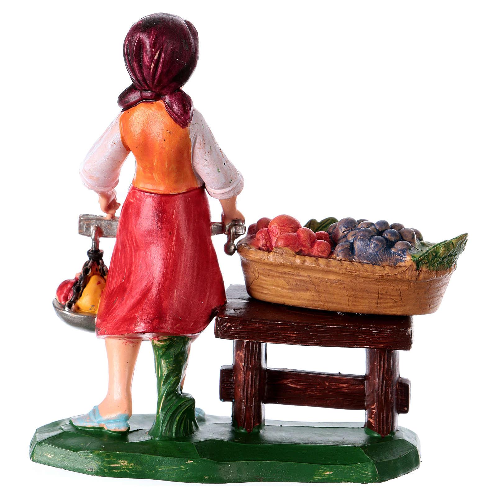 Statua Donna fruttivendola 10 cm per presepe 3