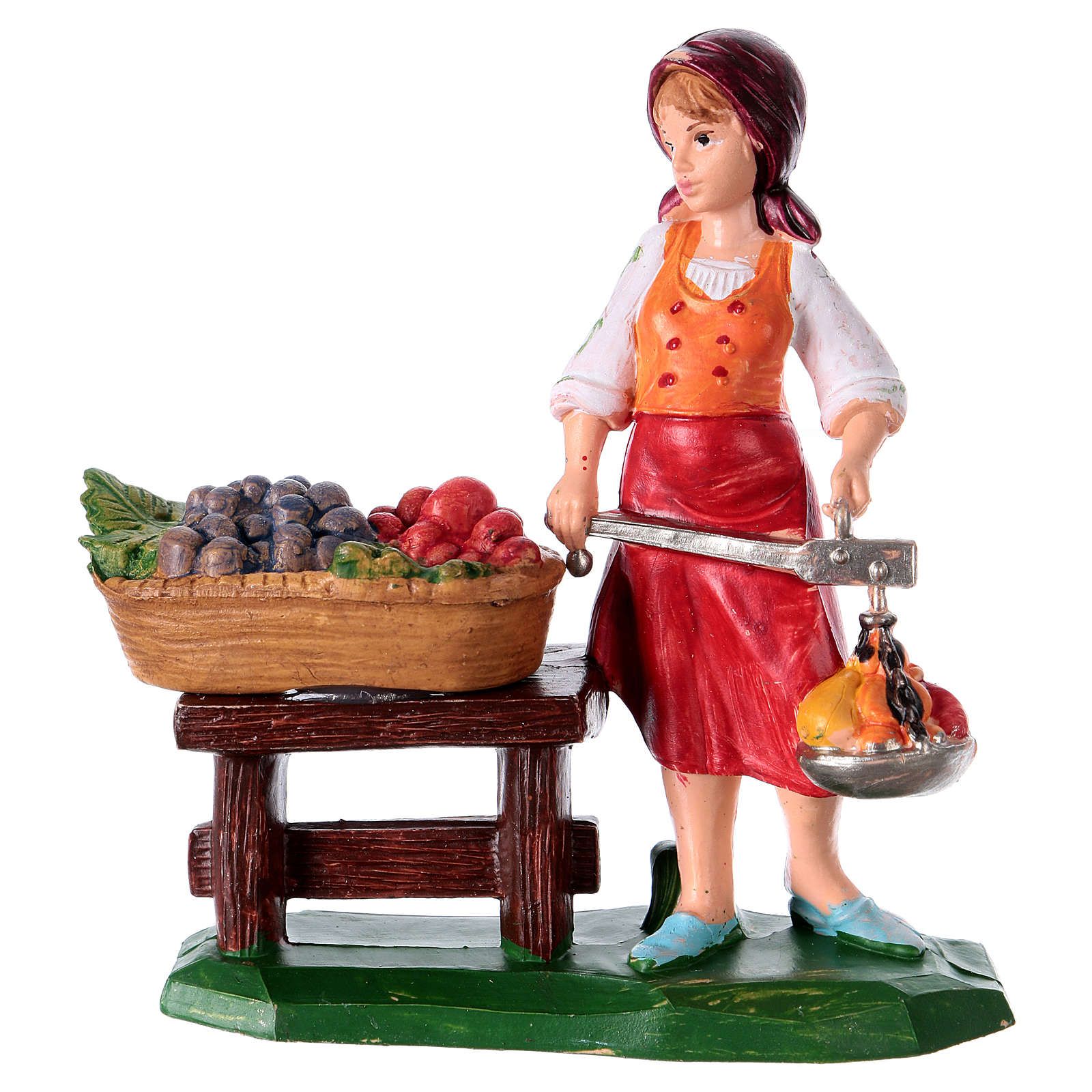 Woman with fruits figurine for Nativity Scene 10 cm 3