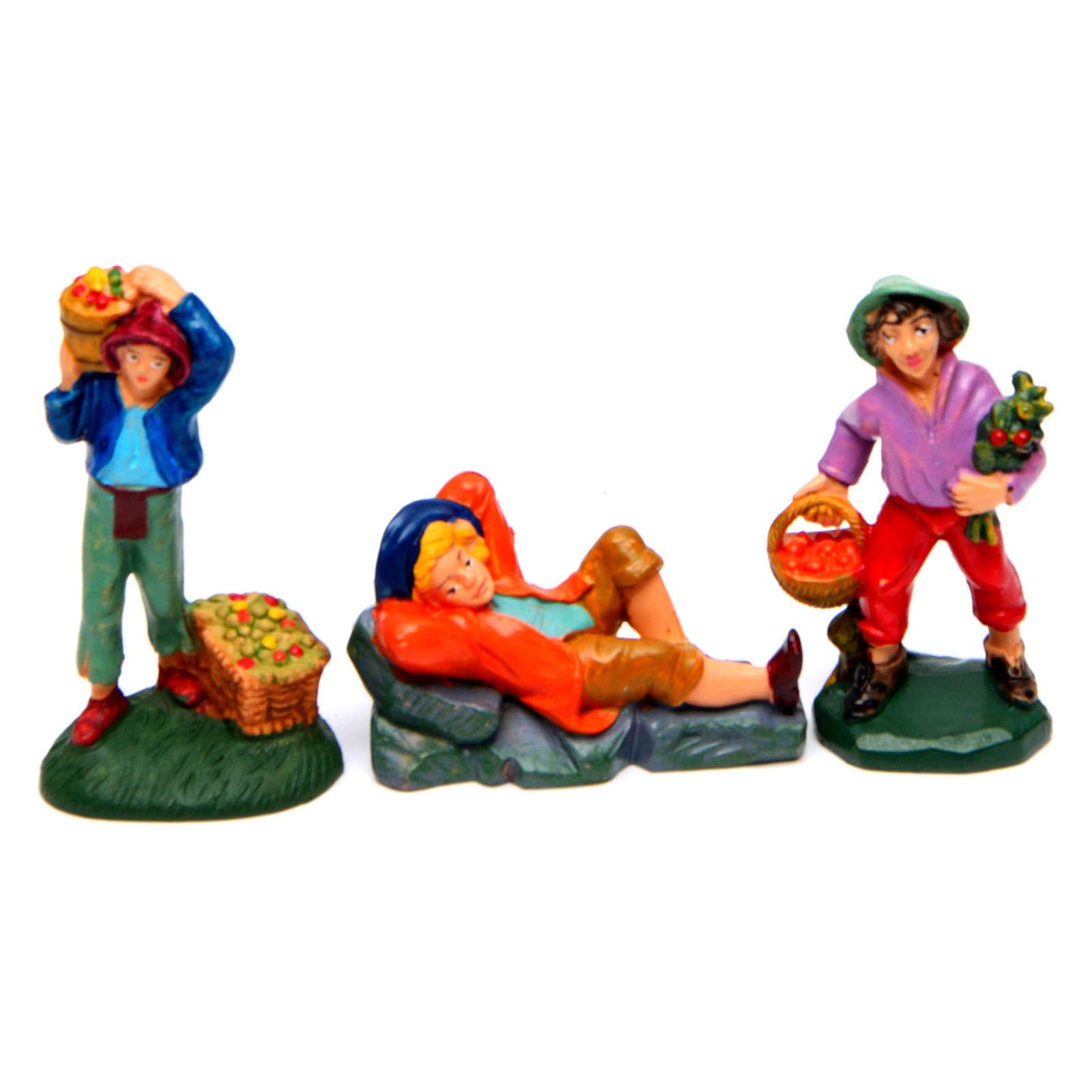 Pastori presepe 8 cm tipo legno set 19 modelli 3