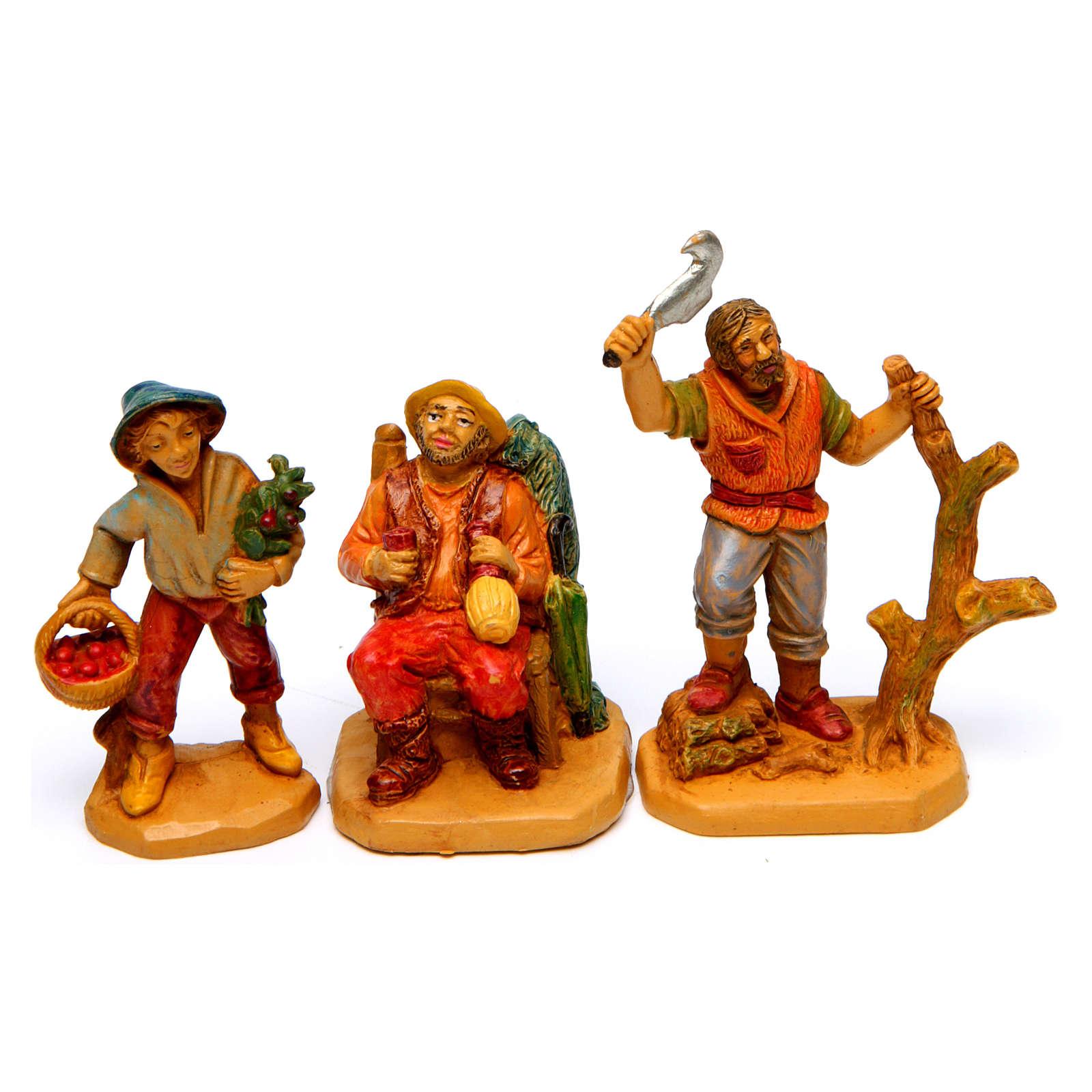 Wood finish figurines for Nativity Scene 7 cm, set of 19 3