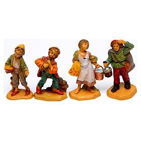 Wood finish figurines for Nativity Scene 7 cm, set of 19 s5