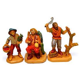 Wood finish figurines for Nativity Scene 7 cm, set of 19 s6