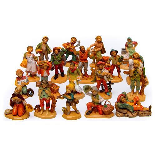 Wood finish figurines for Nativity Scene 7 cm, set of 19 1