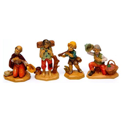 Wood finish figurines for Nativity Scene 7 cm, set of 19 2