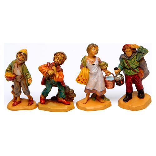 Wood finish figurines for Nativity Scene 7 cm, set of 19 5