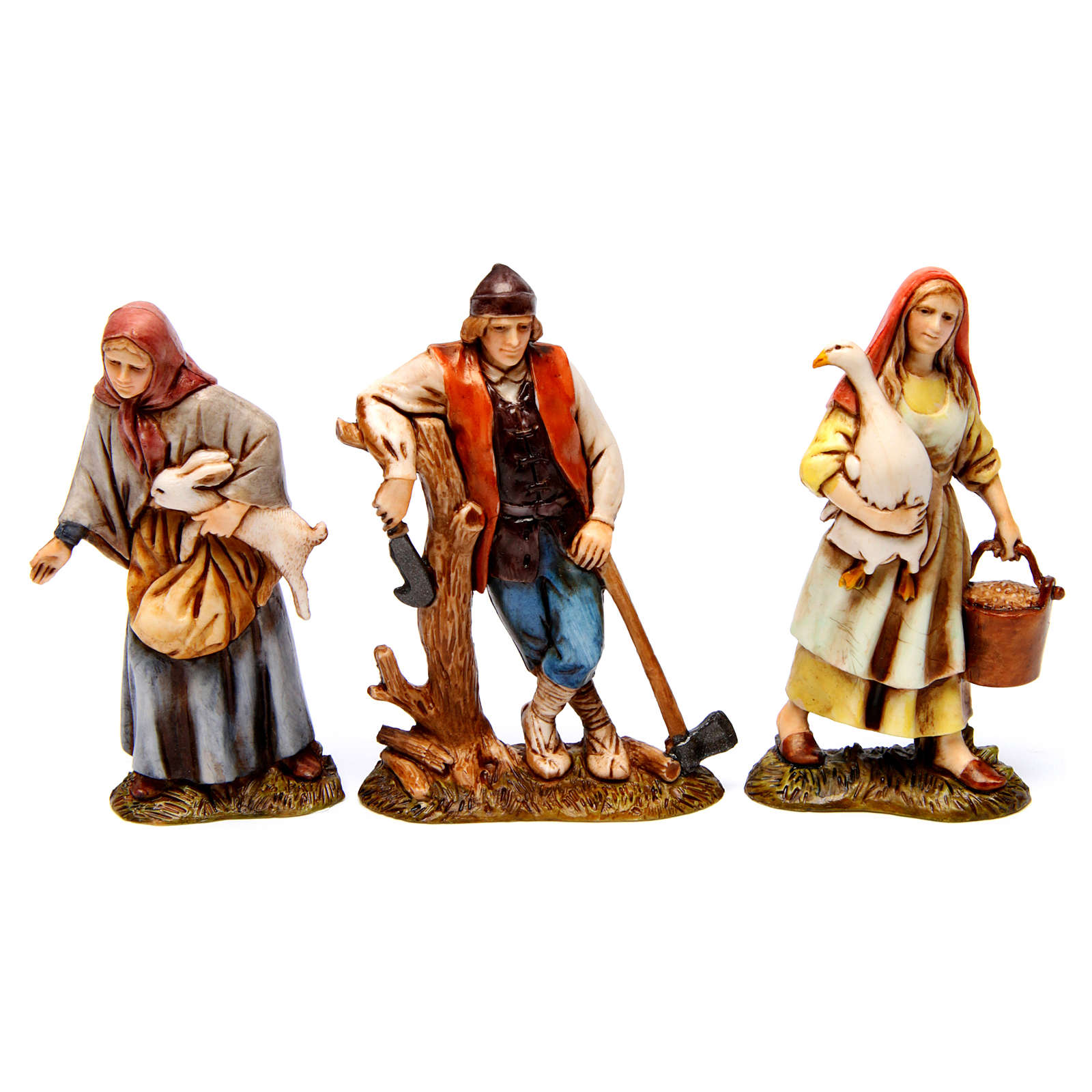 Woodcutter, woman with goose, woman with rabbit figurines for Nativity scene Moranduzzo 10 cm 4