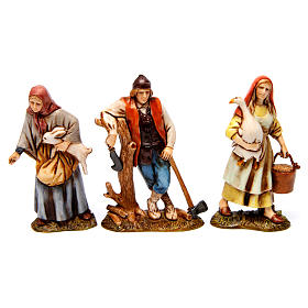 Woodcutter, woman with goose, woman with rabbit figurines for Nativity scene Moranduzzo 10 cm s1