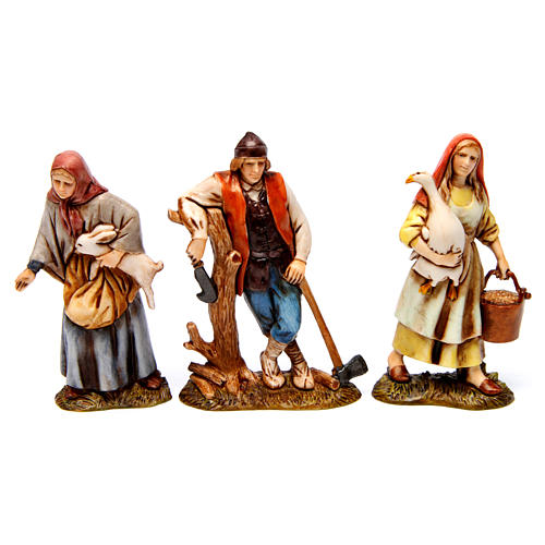 Woodcutter, woman with goose, woman with rabbit figurines for Nativity scene Moranduzzo 10 cm 1