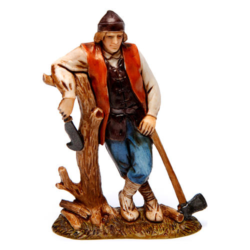 Woodcutter, woman with goose, woman with rabbit figurines for Nativity scene Moranduzzo 10 cm 2