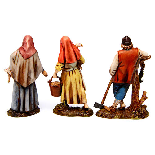 Woodcutter, woman with goose, woman with rabbit figurines for Nativity scene Moranduzzo 10 cm 5