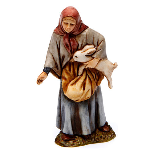 Boscaiolo donna con oca donna con coniglio 10 cm Moranduzzo stile storico 4