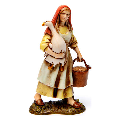 Lenhador mulher com ganso mulher com coelho para presépio com figuras  altura média 10 cm estilo histórico 3