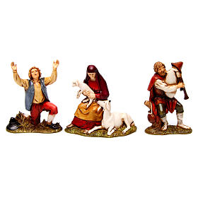 Bagpiper, man in wonder, woman with sheep figurines for Nativity scene Moranduzzo 8 cm s1