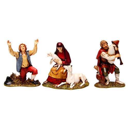 Bagpiper, man in wonder, woman with sheep figurines for Nativity scene Moranduzzo 8 cm 1