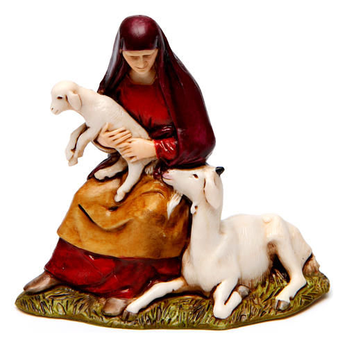 Bagpiper, man in wonder, woman with sheep figurines for Nativity scene Moranduzzo 8 cm 2