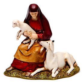 Zampognaro meravigliato donna con capra 8 cm Moranduzzo stile storico s2