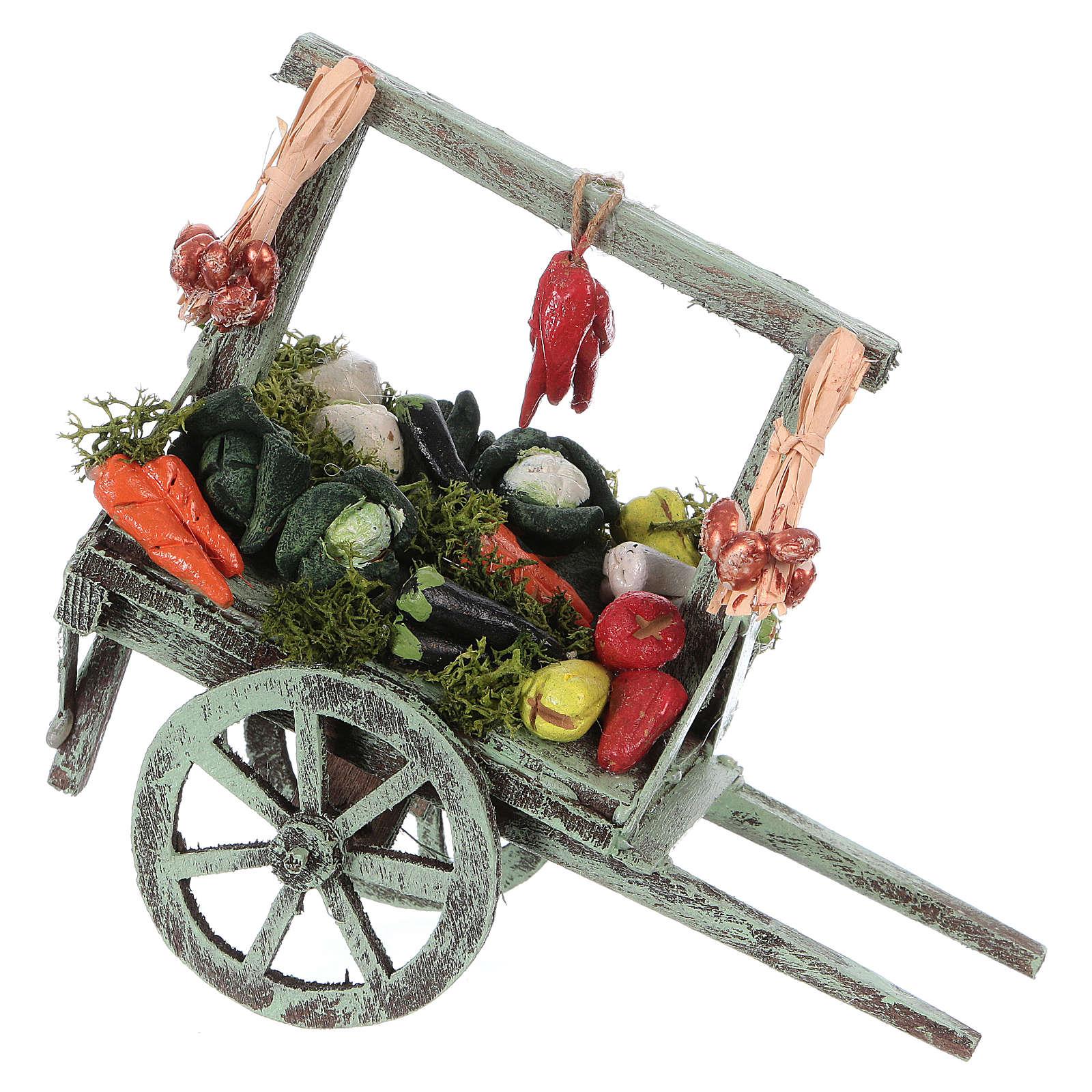 Cart with vegetables for Neapolitan Nativity Scene 15x15x6 cm 4