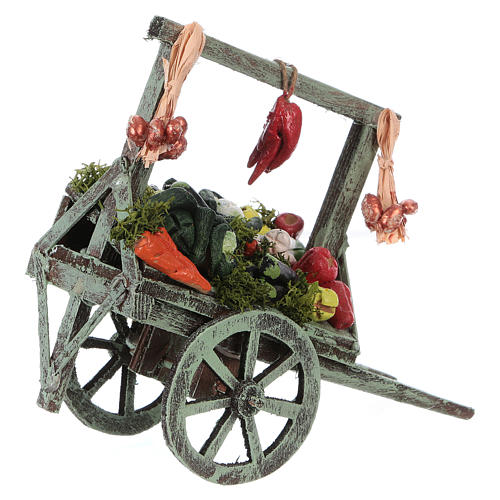 Cart with vegetables for Neapolitan Nativity Scene 15x15x6 cm 2