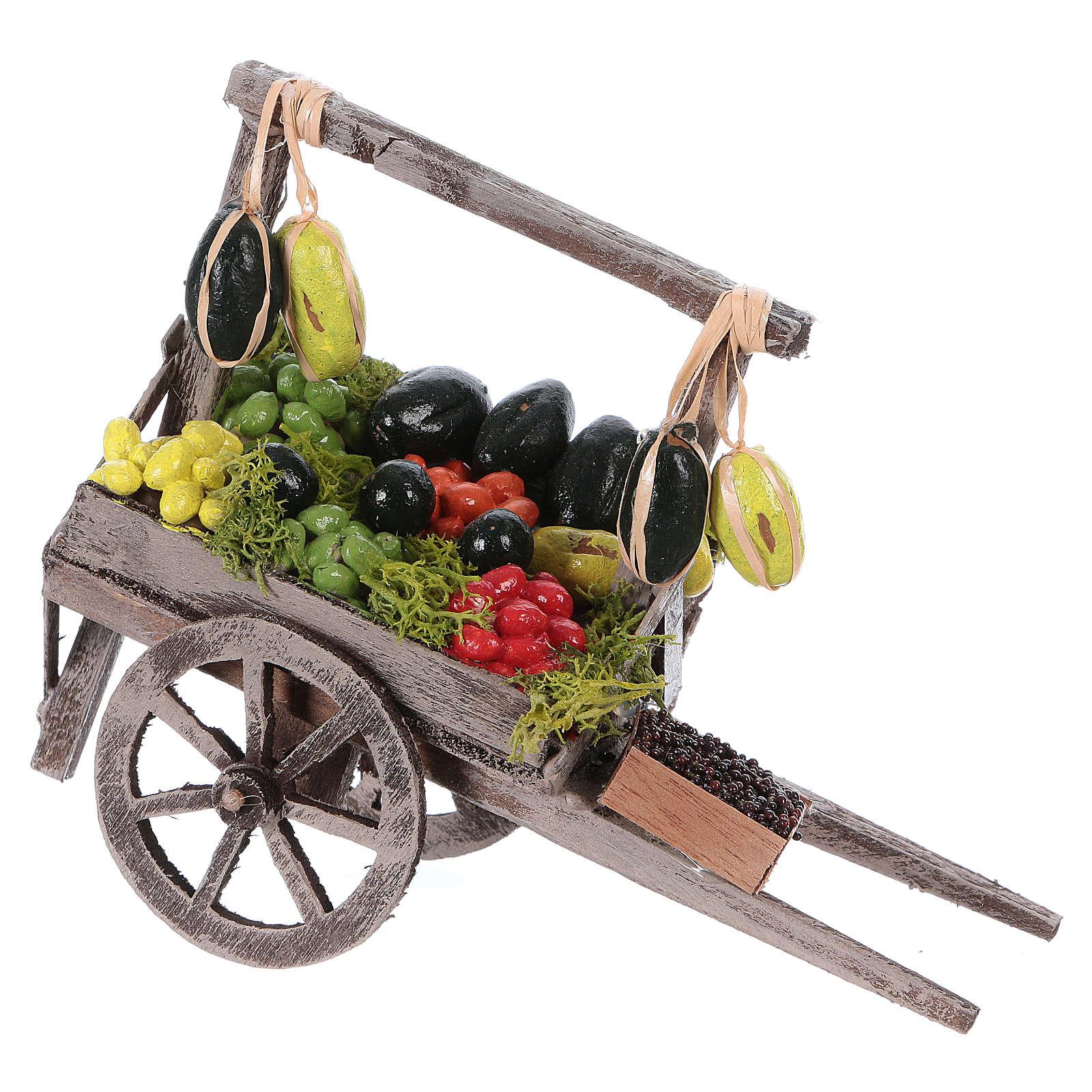 Carro con frutta sfusa presepe napoletano 15x15x6 cm 4