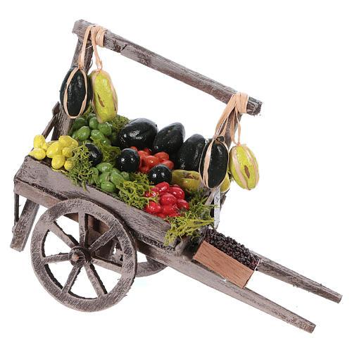 Carro con frutta sfusa presepe napoletano 15x15x6 cm 1
