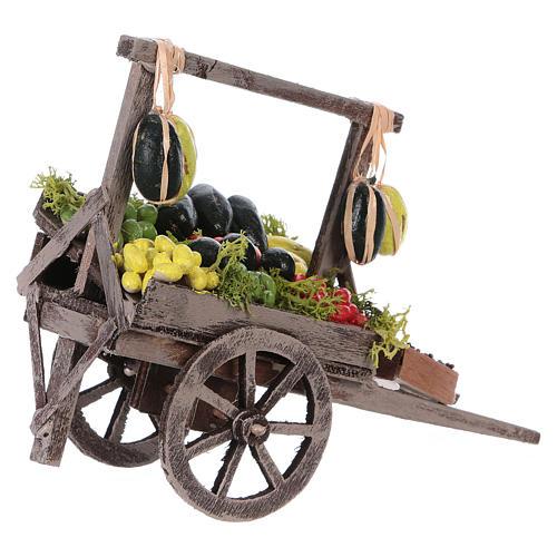 Carro con frutta sfusa presepe napoletano 15x15x6 cm 2