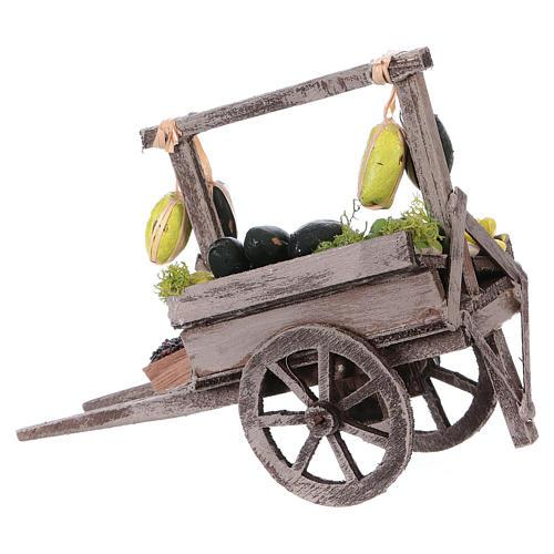 Carro con frutta sfusa presepe napoletano 15x15x6 cm 3