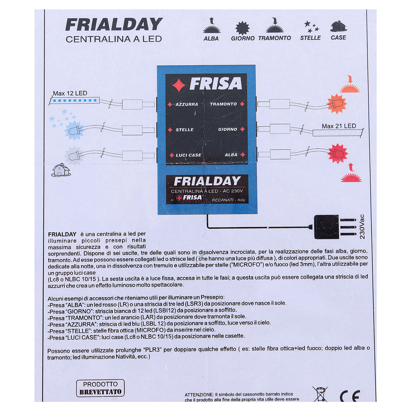 Frialday LED control unit for Nativity scene + kit lights dawn day sunset night 4