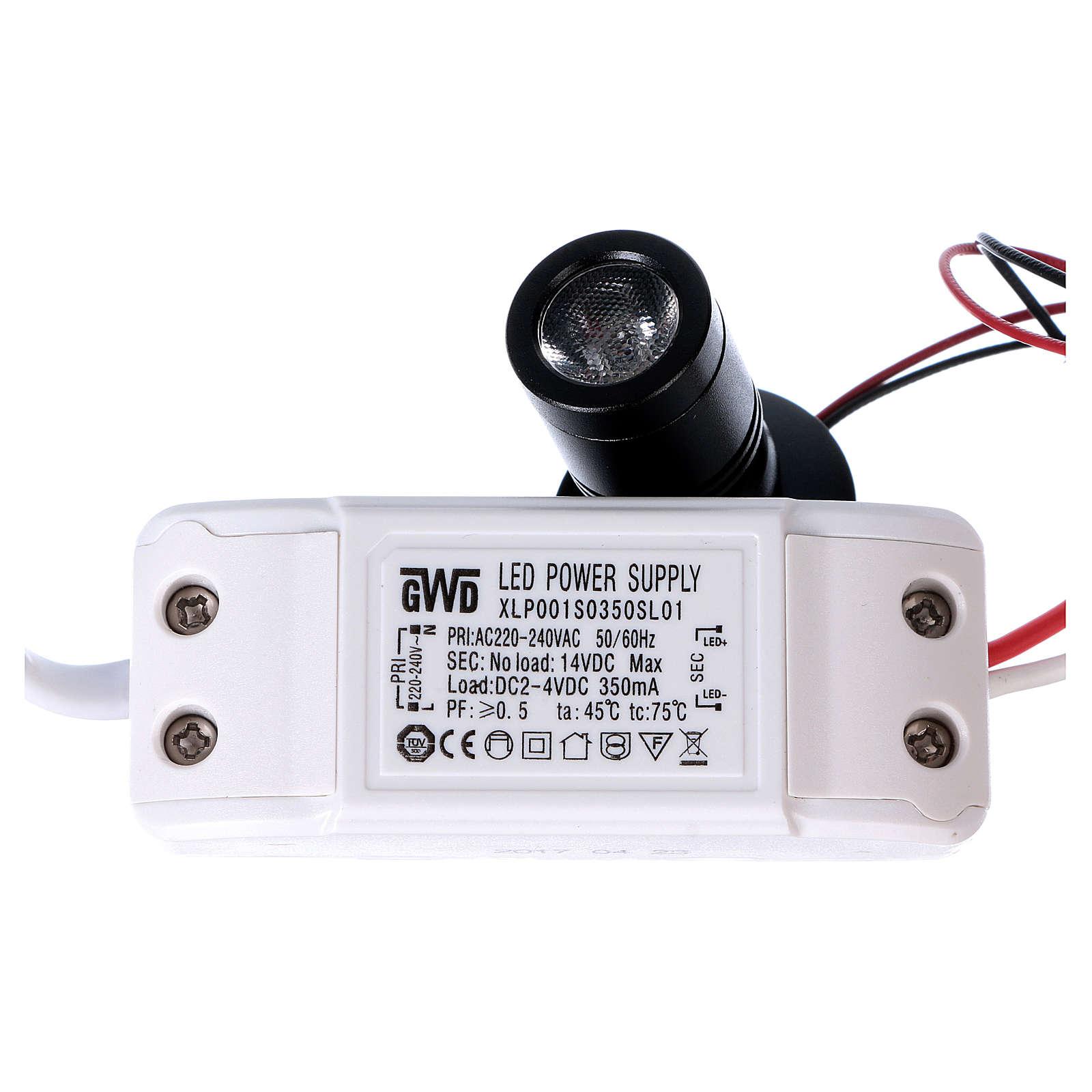 Mini spot led orientabile singolo e supporto triplo 1W per presepi 4