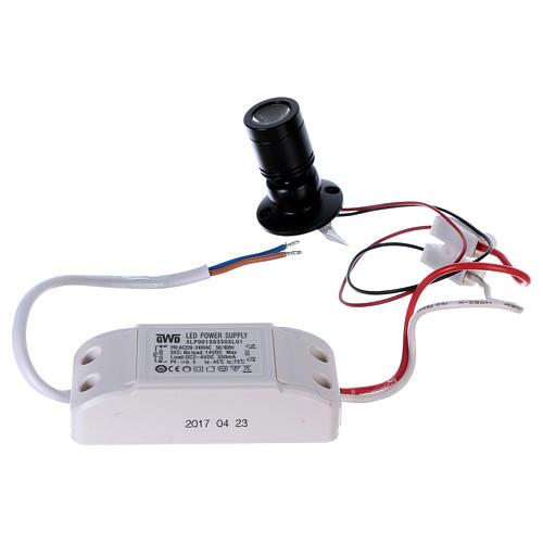 Mini spot led orientabile singolo e supporto triplo 1W per presepi 3