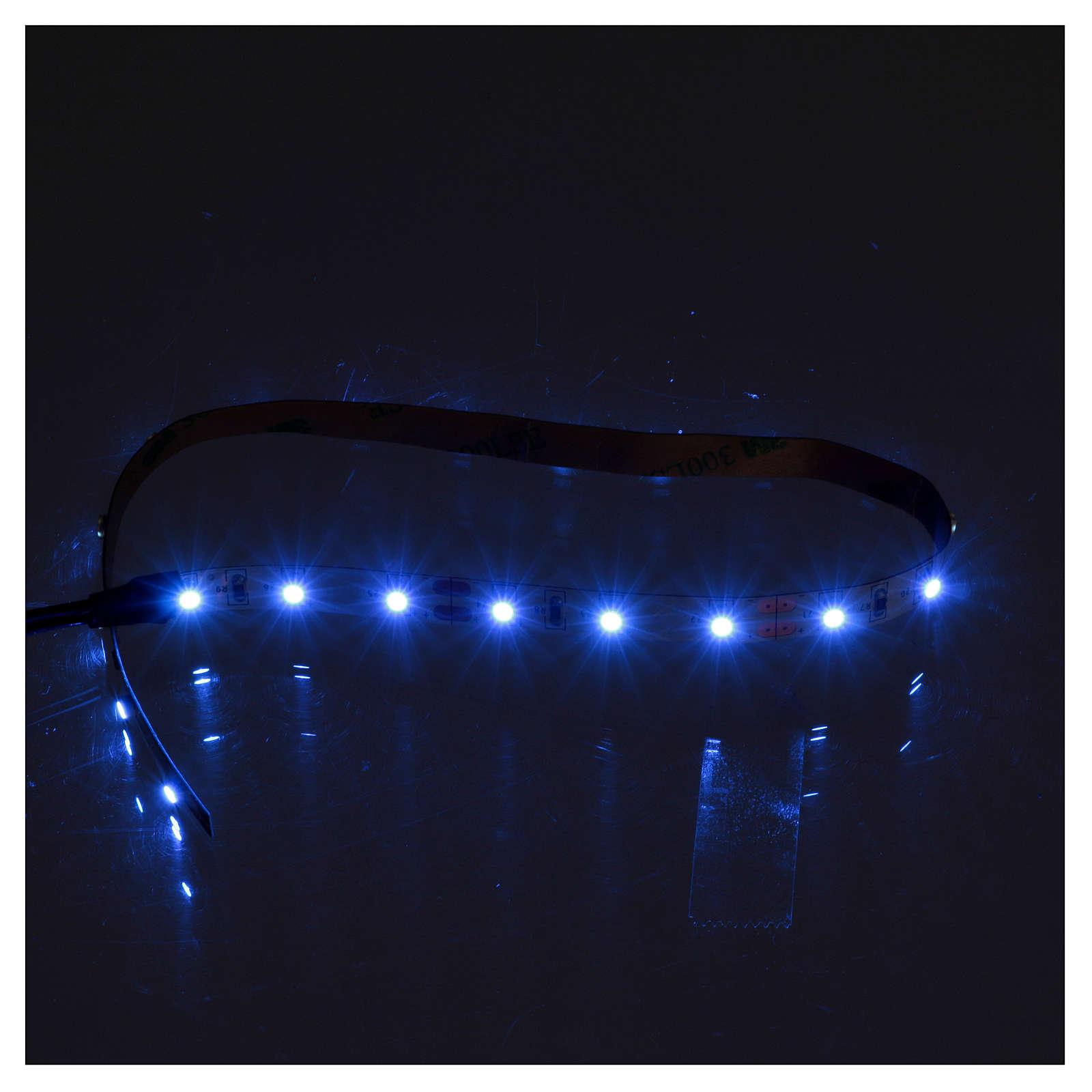 Striscia 21 led autoadesive 12V luce blu 30 cm per presepi 4