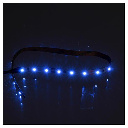 Striscia 21 led autoadesive 12V luce blu 30 cm per presepi 2