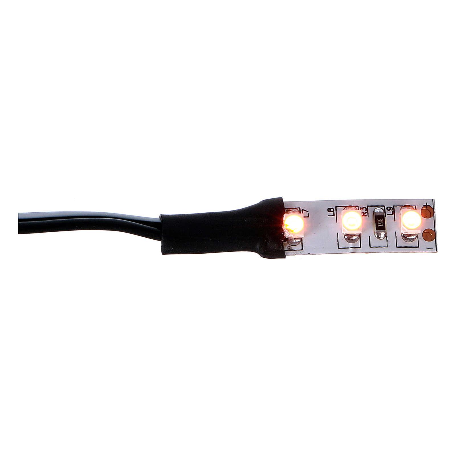 3 LEDs strip, orange light 12V 4 cm for Nativity scene 4
