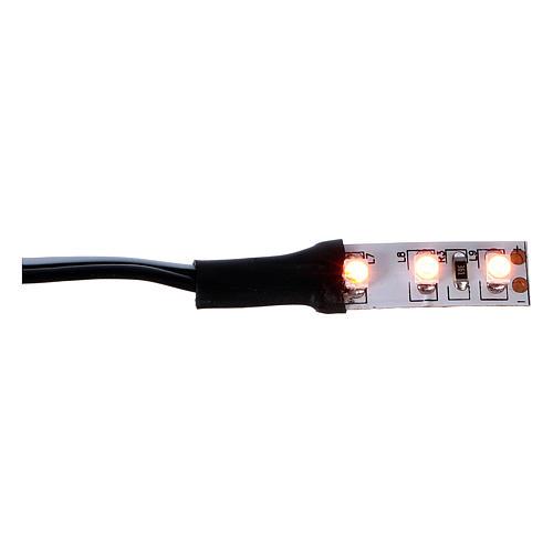 3 LEDs strip, orange light 12V 4 cm for Nativity scene 1