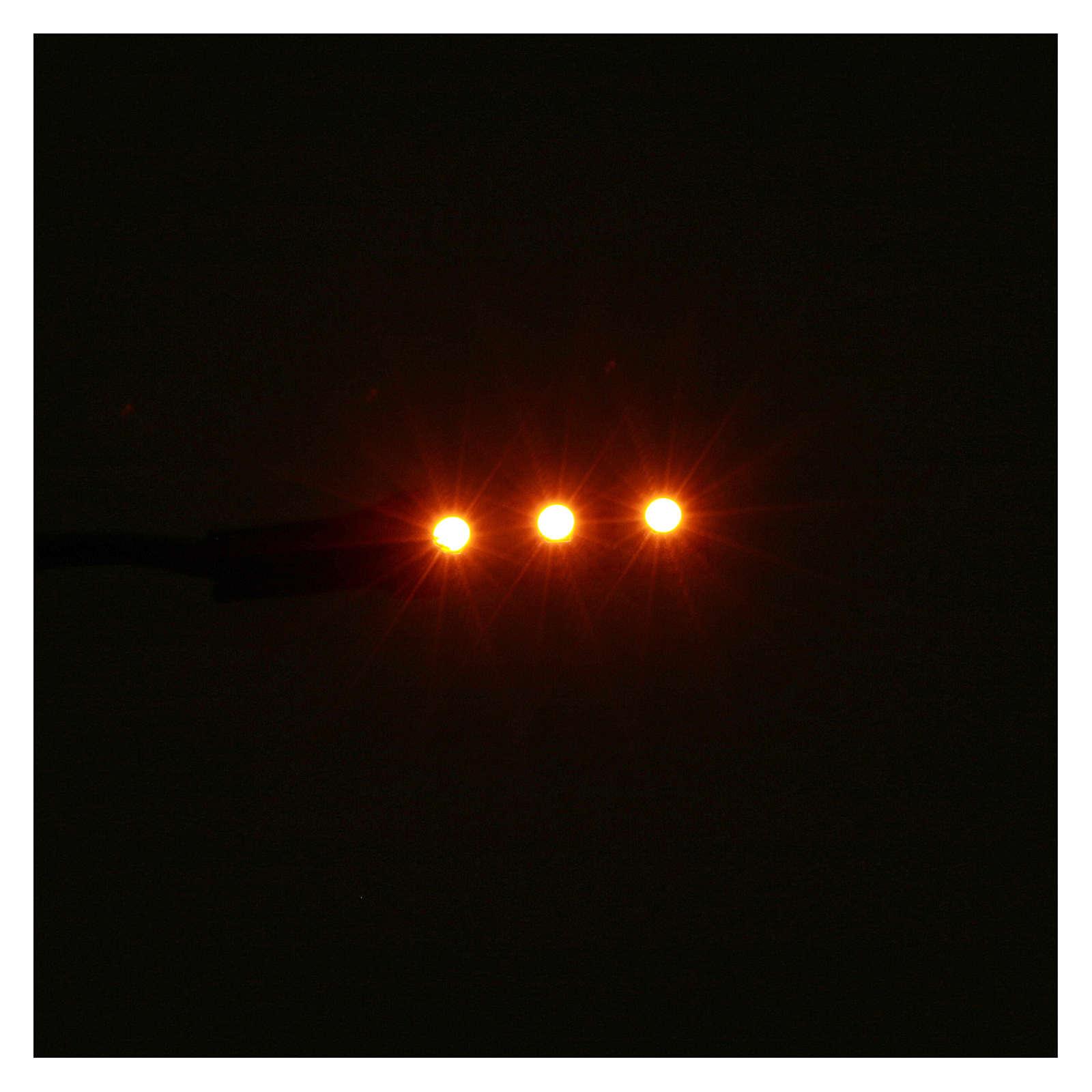 Tira 3 led autoashesiva 12V 4cm luz naranja para belenes 4