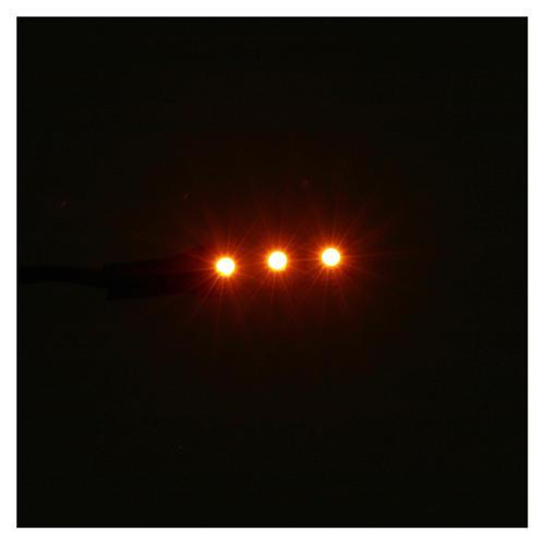 Striscia 3 led autoadesive 12V 4 cm luce arancio per presepi 2
