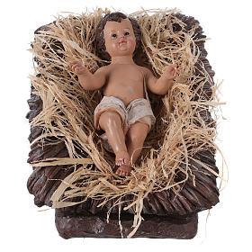 Baby Jesus in his cradle in resin for Nativity Scene 60 cm s1