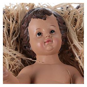 Baby Jesus in his cradle in resin for Nativity Scene 60 cm s2