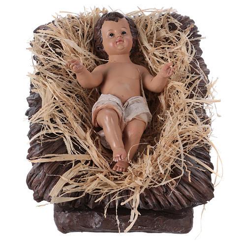 Baby Jesus in his cradle in resin for Nativity Scene 60 cm 1