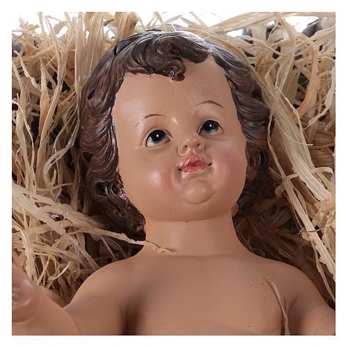 Baby Jesus in his cradle in resin for Nativity Scene 60 cm 2