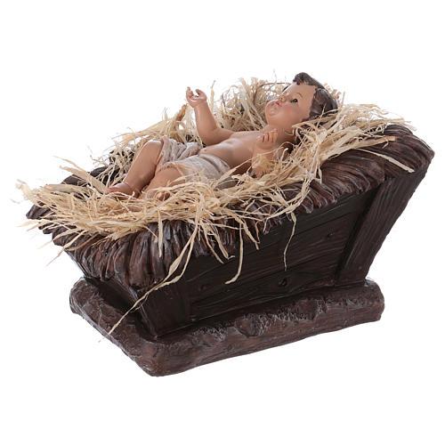 Baby Jesus in his cradle in resin for Nativity Scene 60 cm 3