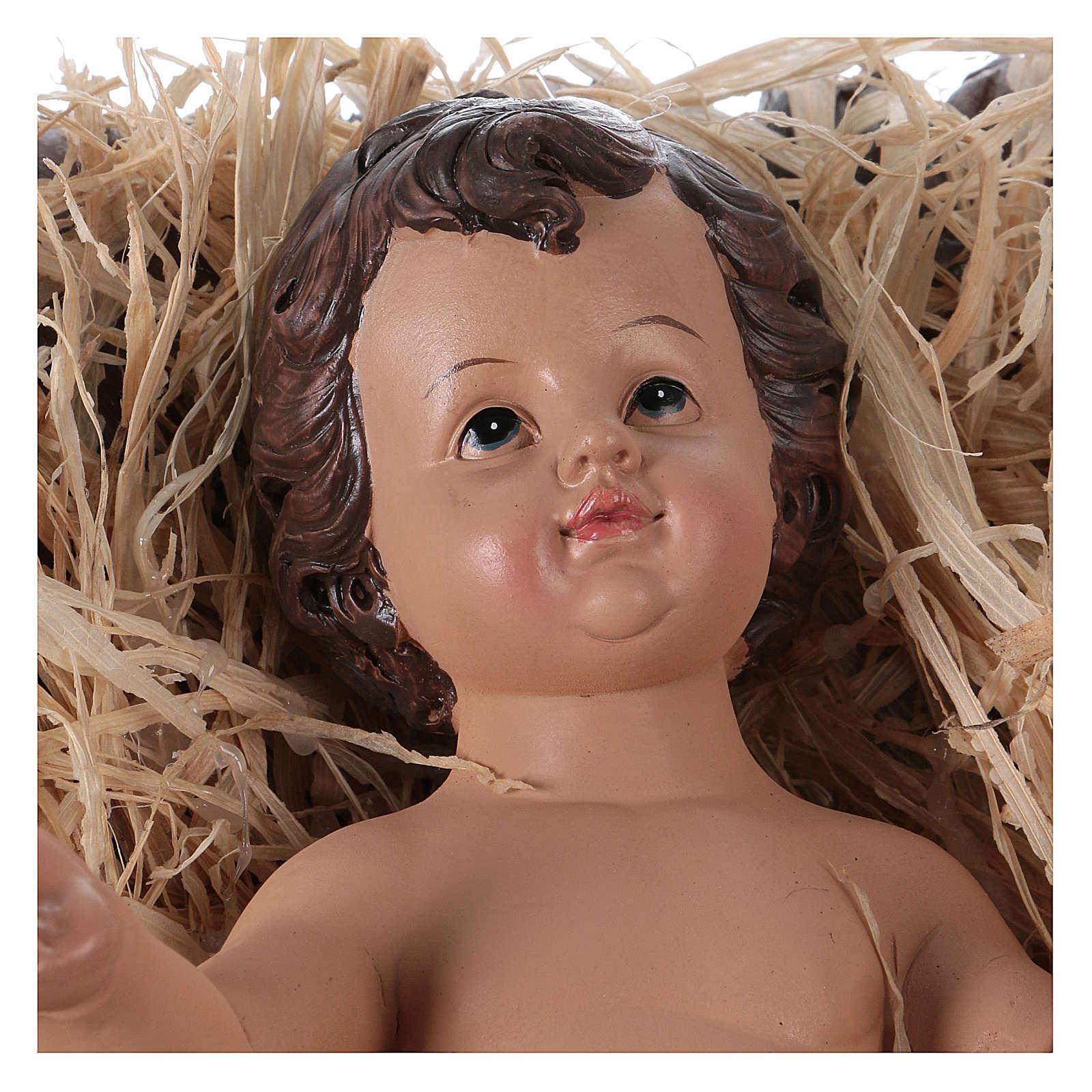 Niño Jesús en la cuna para belén 60 cm de altura media resina 3